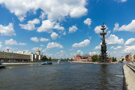 MOSCOW, RUSSIA - June 19, 2018: Bypass canal of the Moscow river and naval monument to the Russian czar Peter the Great Editorial