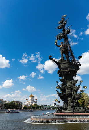 MOSCOW, RUSSIA - June 19, 2018: Monument to the Russian czar Peter the Great on a Bypass canal of the Moscow river Editorial