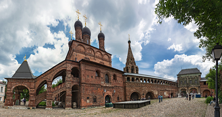 MOSCOW, RUSSIA - June 2, 2018:  Krutitsy Patriarchal Metochion, established in the late 13th century, panorama Redakční