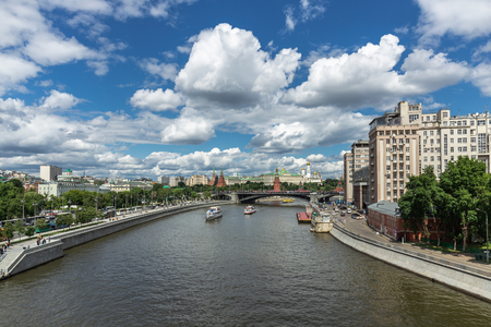 Panoramic top view of the Kremlin and Moscow River
