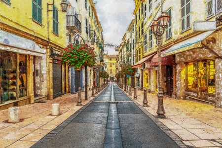 Street in the old town Antibes in France. Digital illustration in painting style Banque d'images - 111788855