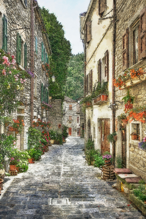 Narrow street with flowers in the old Italian village. Digital illustration in painting style