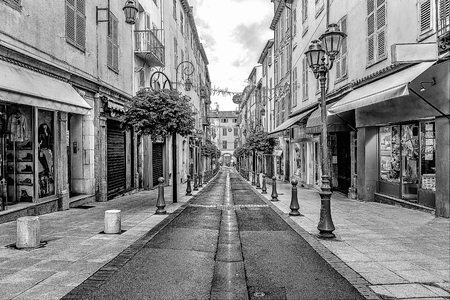 Street in the old town Antibes in France. Digital illustration in sketch style Banque d'images - 111790391
