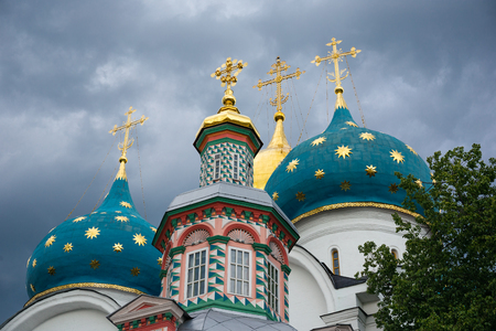 Domes with crosses in the famous Holy Trinity-St. Sergius Lavra, Sergiev Posad, Russia