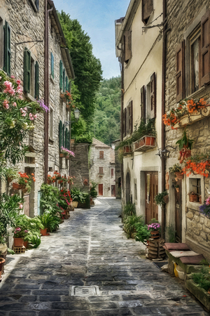 Street with flowers in the old Italian village. Digital illustration in oil painting style