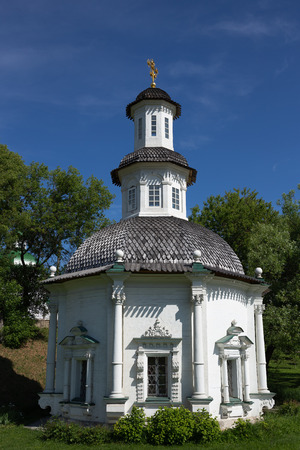 White old stone chapel in Russia 免版税图像