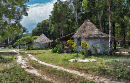 Rural landscape in Asia, Digital illustration in painting style Фото со стока