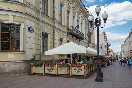 MOSCOW, RUSSIA - June 17, 2018: Cafe on famous pedestrian street in Moscow Old Arbat Editorial