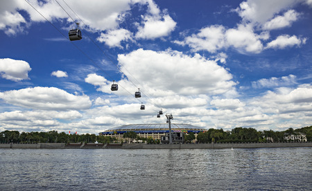 MOSCOW, RUSSIA - JUNE 25, 2018: Cable car across the river in Luzhniki Editorial