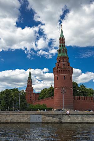 Kremlin wall with a tower in Moscow, Kremlevskaya Embankment