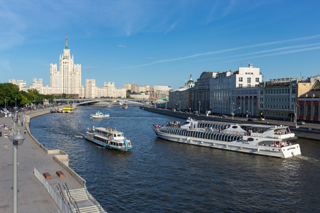 MOSCOW, RUSSIA - June 15, 2018: Moscow river near Park Zaryadye with walking ship in the center of the city
