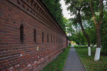 Old brick fortress wall in Sergiev Posad, Russia