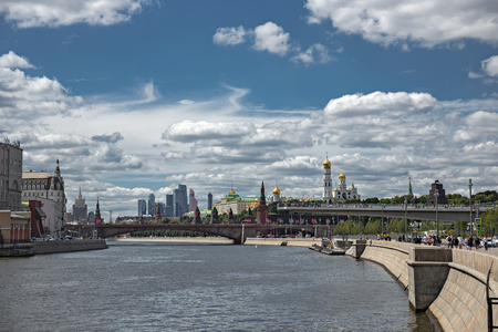 View of the river Moscow , Kremlevskaya Embankment and towers of the Kremlin