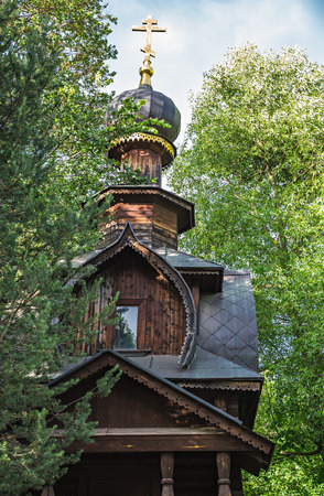 Old wooden bell tower in Russia
