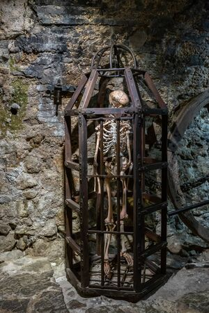 Medieval Metal cage with skeleton for torture
