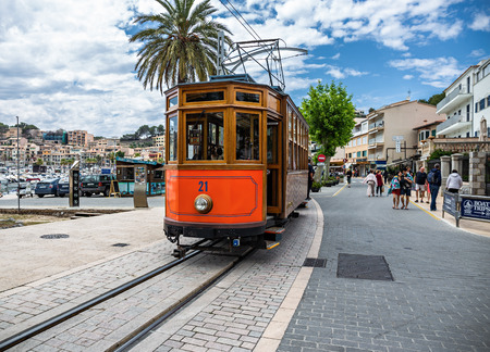 Soller, Spain - 26.05.2019: The famous old tram of Port de Soller