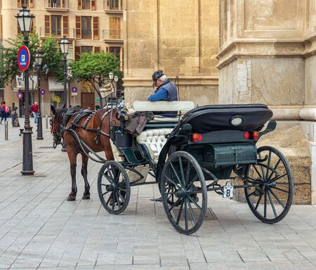 Palma de Mallorca, Spain - 23.05.2019: Carriage with one horse for tourists