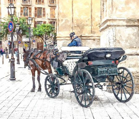 Carriage with one horse for tourists. Digital illustration in watercolor painting style
