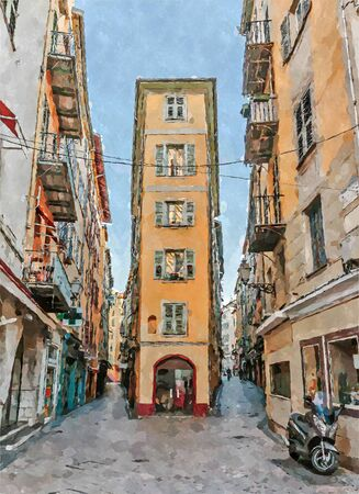 Street in old Nice in France. Digital illustration in watercolor  painting style Banque d'images - 132523327