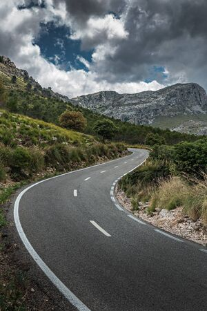 Winding highway in the mountains  of Sierra Tramuntana on the island of Mallorca