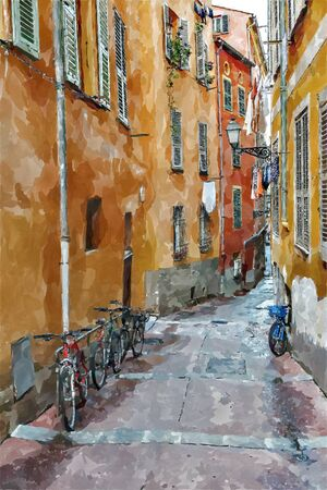 Street the old town of Nice, France. Digital illustration in watercolor  painting style
