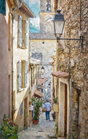 Narrow cobbled streets in the old village Lyuseram, France. Digital illustration in watercolor  painting style Banque d'images - 132511897