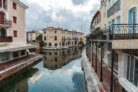 Street canals in Port Grimaud, France. Digital illustration in watercolor  painting style 写真素材