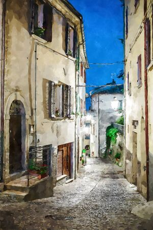 Street in the old town in Italy at night. Digital illustration in watercolor painting style Фото со стока