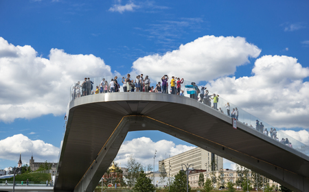 MOSCOW, RUSSIA - June 25, 2018: Floating bridge in Zaryadye Park in the center of the city
