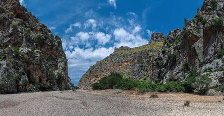 Panorama of the Canyon de la Calobra in the mountains of Tramontana on the island of Mallorca
