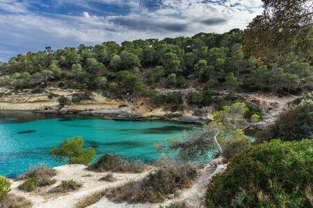 Seascape with rocky coast of Mallorca, Cala Del Mago, Spain