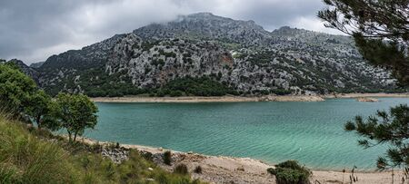 Panorama, Picturesque landscape with a turquoise lake in the mountains of Tramontana on the island of Mallorca