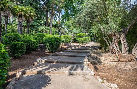 Path in the Alfabia Gardens park on Tramuntana mountain, Mallorca, Balearic Islands, Spain