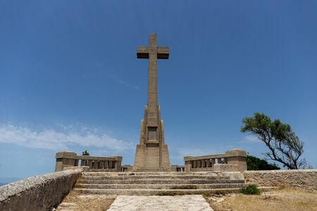 Cross Santuari de Sant Salvador Monastery, Santuario de San Salvador, near Felanitx,  Mallorca, Balearic Islands, Spain.