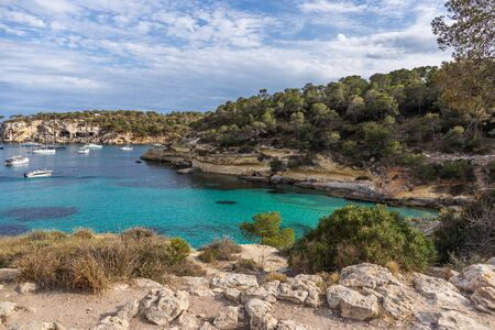Seascape with rocky coast of Mallorca, Cala Del Mago, Spain