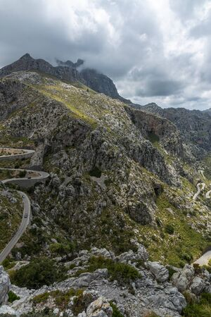 Winding highway in the mountains  of Sierra de Tramuntana on the island of Mallorca
