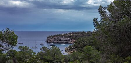 Seascape, yachts on the pier in the Bay of Mallorca