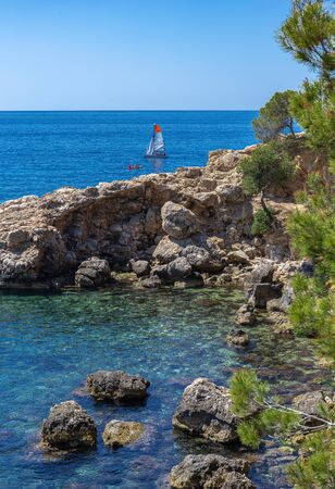 Landscape with rocky coast,  Mallorca Spain Stock fotó - 130146536