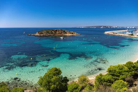 Panoramic view of the beach Portals Nous of Mallorca, Spain
