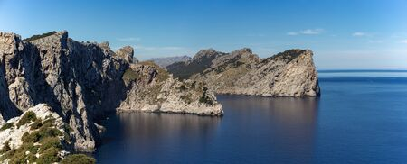 Panorama of Scenic views of the famous Cape de Formentor, Mallorca Spain Stock fotó - 130146547