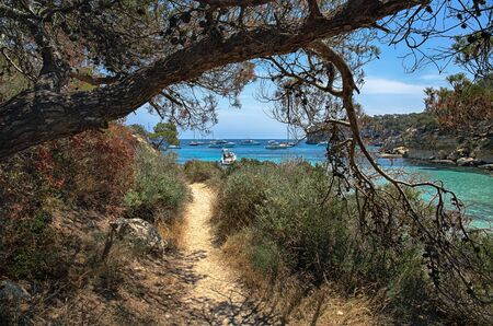Shady path along the shore of the Bay, coast of Mallorca, Cala Del Mago, Spain