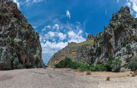 Panoramic view of the Canyon de la Calobra in the mountains of Tramontana on the island of Mallorca Imagens