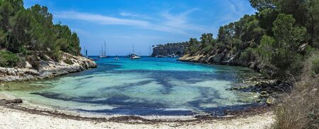 Panorama Cozy bay with a sandy beach Caló dels Reis, Mallorca Spain