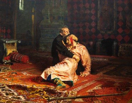 MOSCOW, RUSSIA - June 12, 2018: State Tretyakov Gallery-Repin I.E. Ivan the Terrible and his son Ivan Publikacyjne