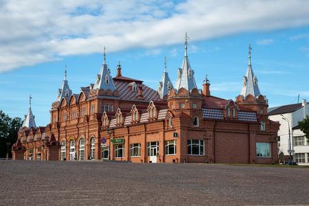 SERGIEV POSAD, RUSSIA - June 21, 2018: Brick building on the Central square, Sergiev Posad, Russia