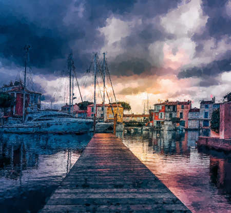 Pier in Port Grimaud, France. Computer graphics - oil painting style