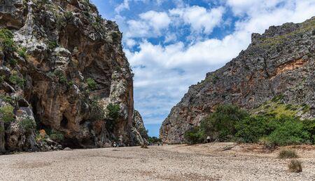 Panoramic view Canyon de la Calobra in the mountains of Tramontana, Mallorca 版權商用圖片