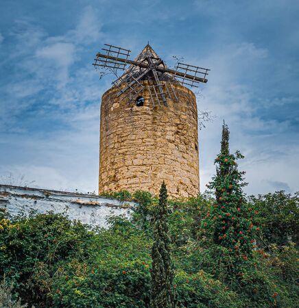 Old ruined windmill in Palma de Mallorca, Spain
