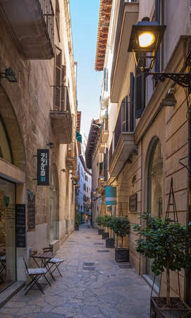 Palma de Mallorca, Spain - 01.06.19: Old street  in center of Palma de Mallorca