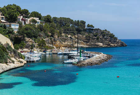 Majorca, Spain - 5.06.2019: Cozy bay with a sandy beach Caló dels Reis